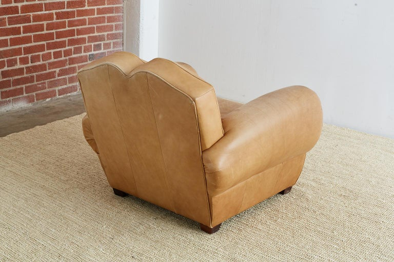 French Art Deco Style Moustache Leather Club Chair For Sale 12