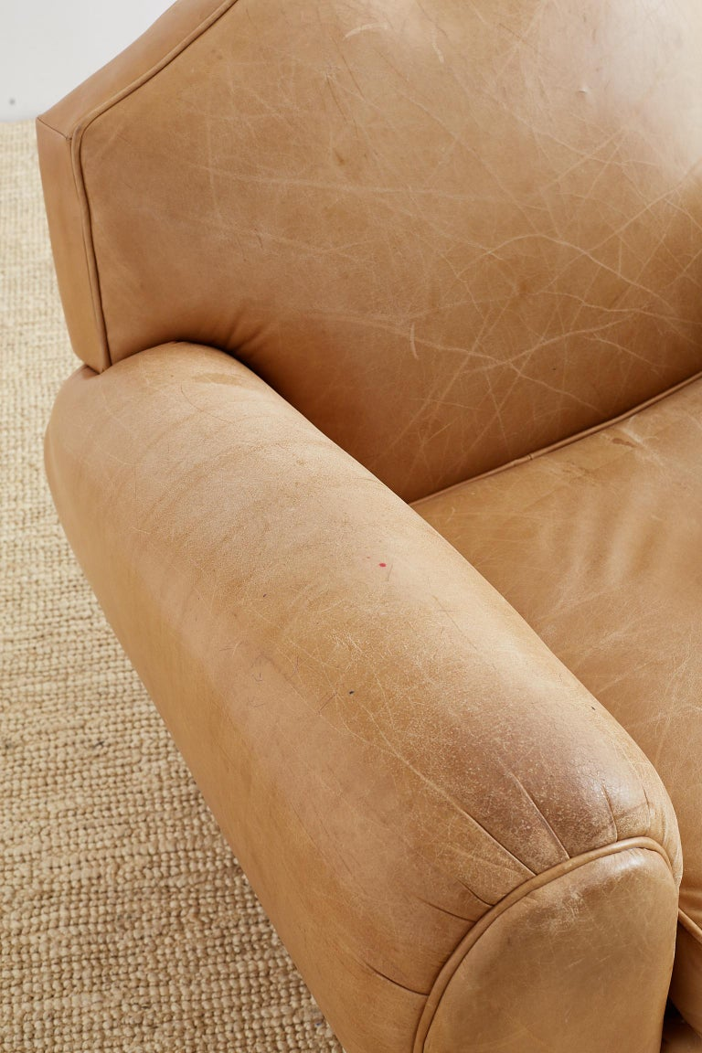 American French Art Deco Style Moustache Leather Club Chair For Sale