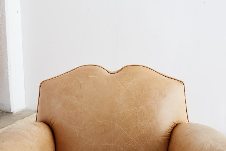 French Art Deco Style Moustache Leather Club Chair In Distressed Condition For Sale In Rio Vista, CA