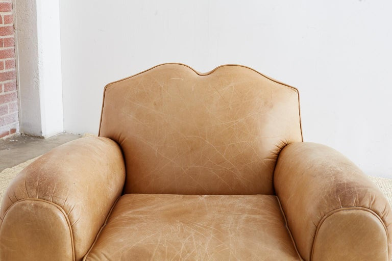 20th Century French Art Deco Style Moustache Leather Club Chair For Sale