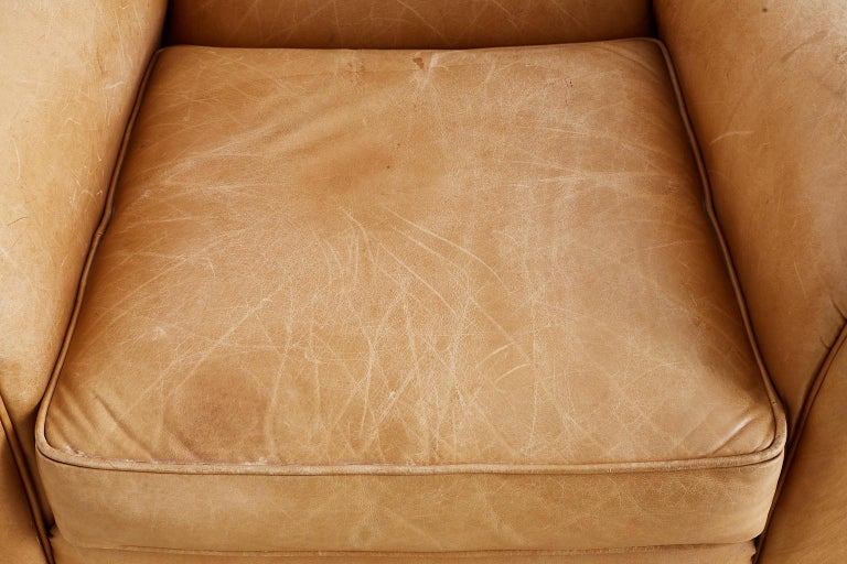 French Art Deco Style Moustache Leather Club Chair For Sale 2