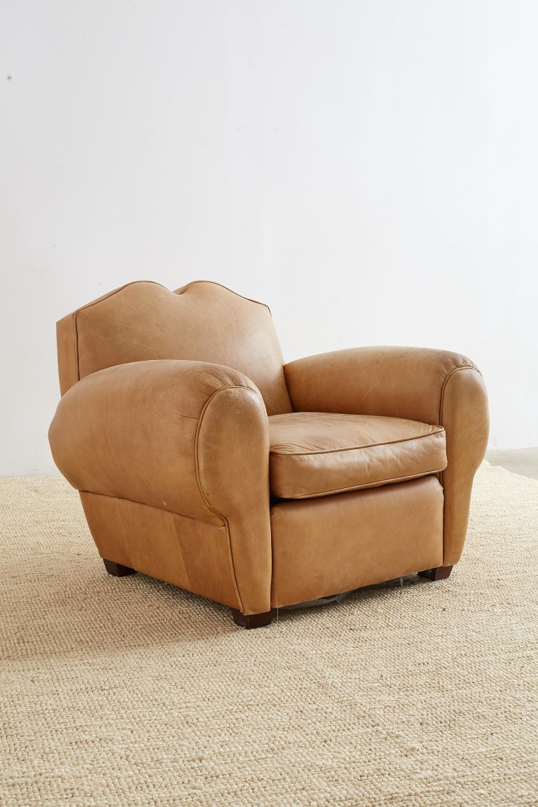 French Art Deco Style Moustache Leather Club Chair For Sale 3
