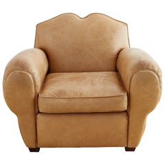 French Art Deco Style Moustache Leather Club Chair