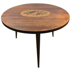 French Art Deco Style Round Wooden Coffee or Side Table with Marquetry Center