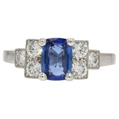 French Art Deco Style Sapphire Diamonds Platinum Ring