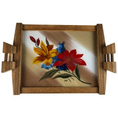 French Art Deco Style Serving Tray with Flowers, Oak and Glass