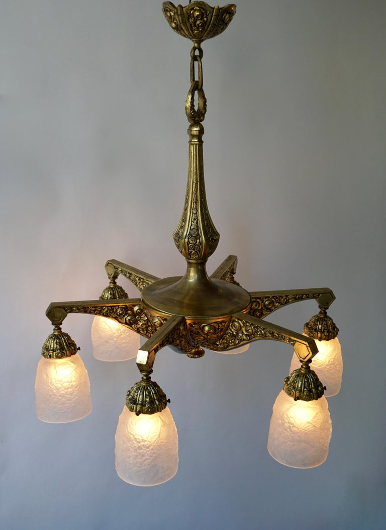 French Art Deco Style Six-Light Bronze Chandelier For Sale 5