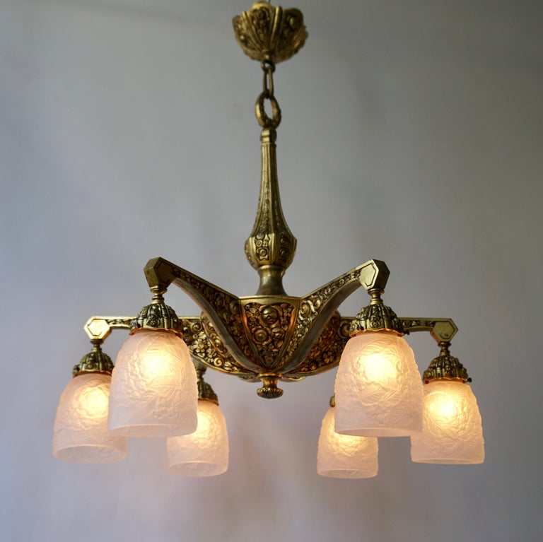 Frosted French Art Deco Style Six-Light Bronze Chandelier For Sale