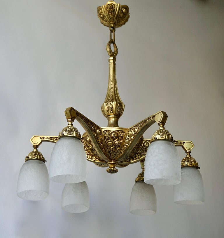 French Art Deco Style Six-Light Bronze Chandelier In Good Condition For Sale In Antwerp, BE