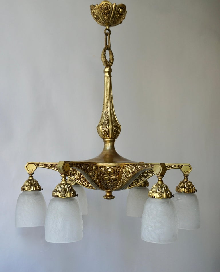 20th Century French Art Deco Style Six-Light Bronze Chandelier For Sale