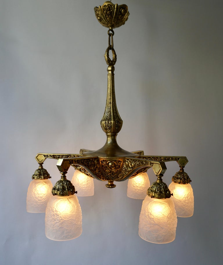Art Glass French Art Deco Style Six-Light Bronze Chandelier For Sale