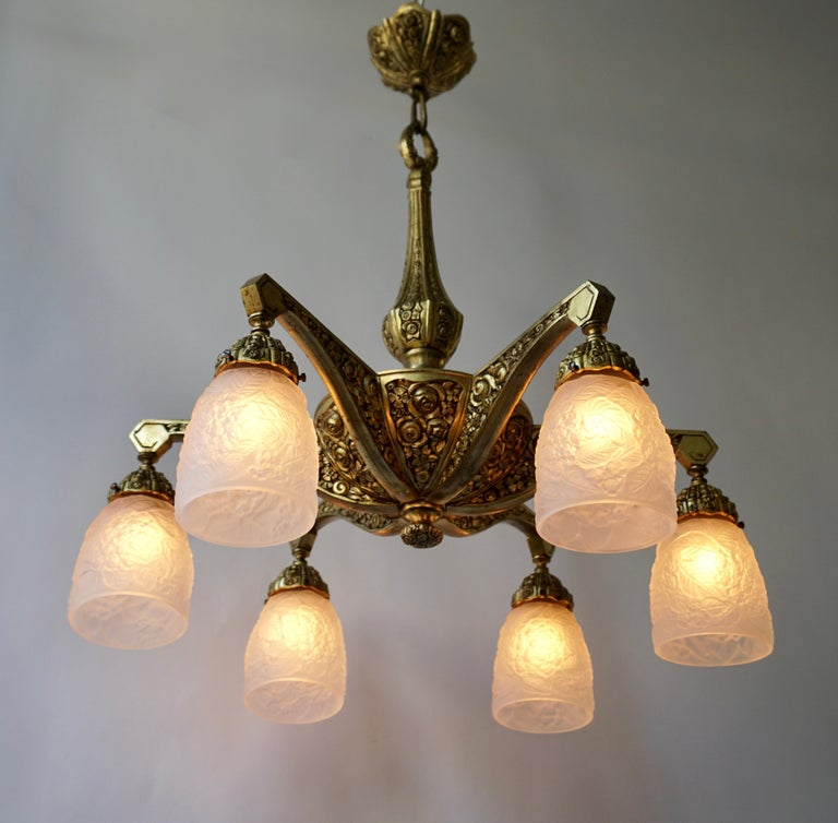 French Art Deco Style Six-Light Bronze Chandelier For Sale 1