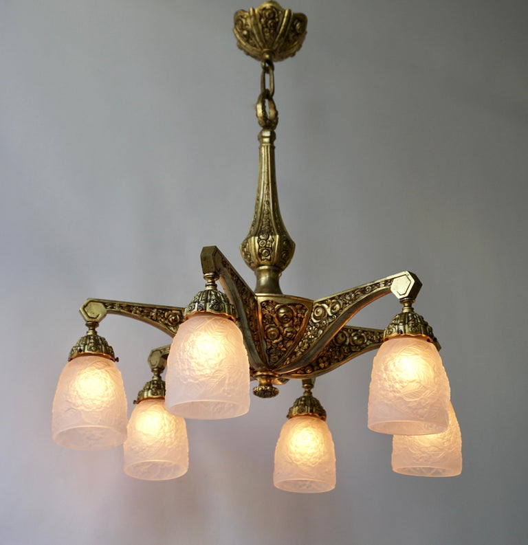 French Art Deco Style Six-Light Bronze Chandelier For Sale 3