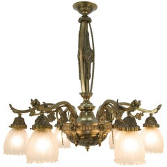 French Art Deco Style Six-Light Bronze Chandelier