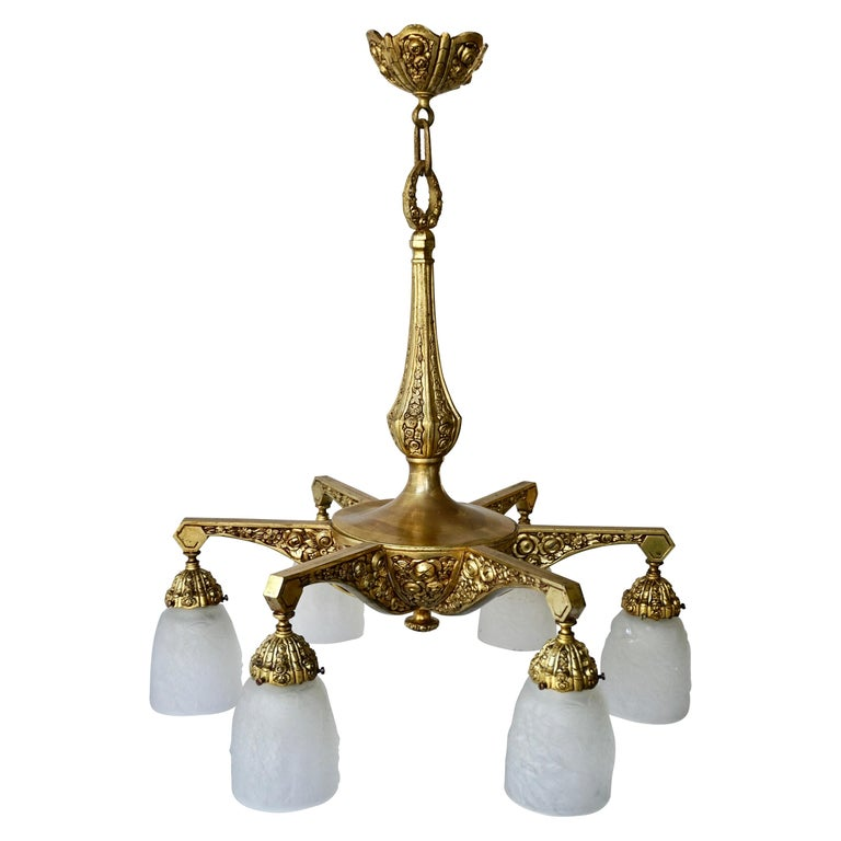 French Art Deco Style Six-Light Bronze Chandelier For Sale