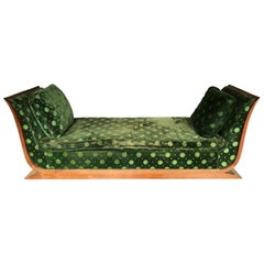 French Art Deco Style Sycamore Sleigh Style Chaise
