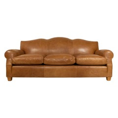 French Art Deco Style Tan Leather Camelback Sofa