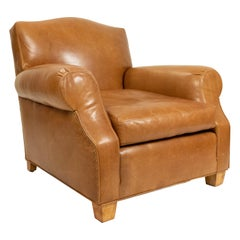 French Art Deco Style Tan Leather Club Chairs