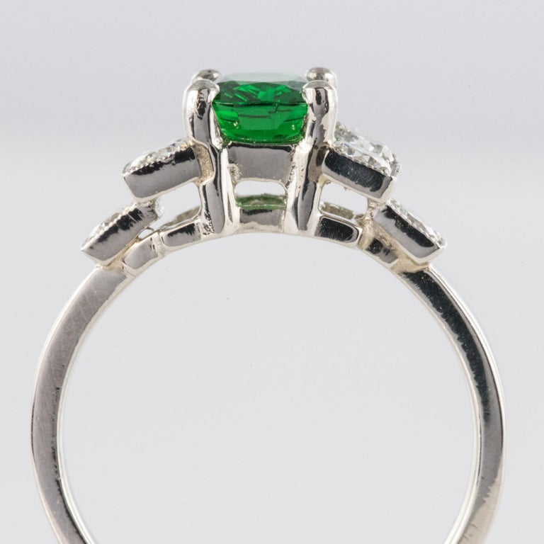 French Art Deco Style Tsavorite Garnet Diamonds Platinum Ring 5