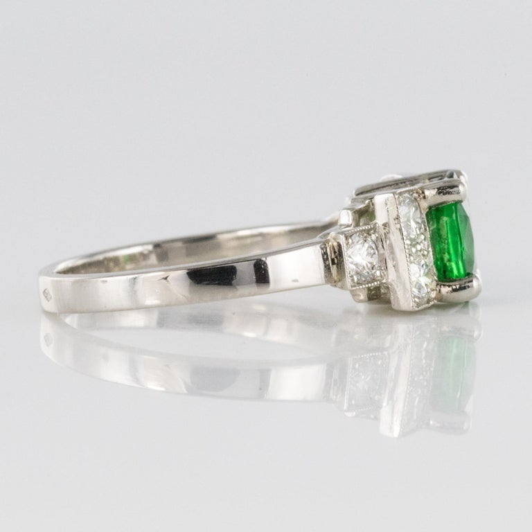 French Art Deco Style Tsavorite Garnet Diamonds Platinum Ring 7