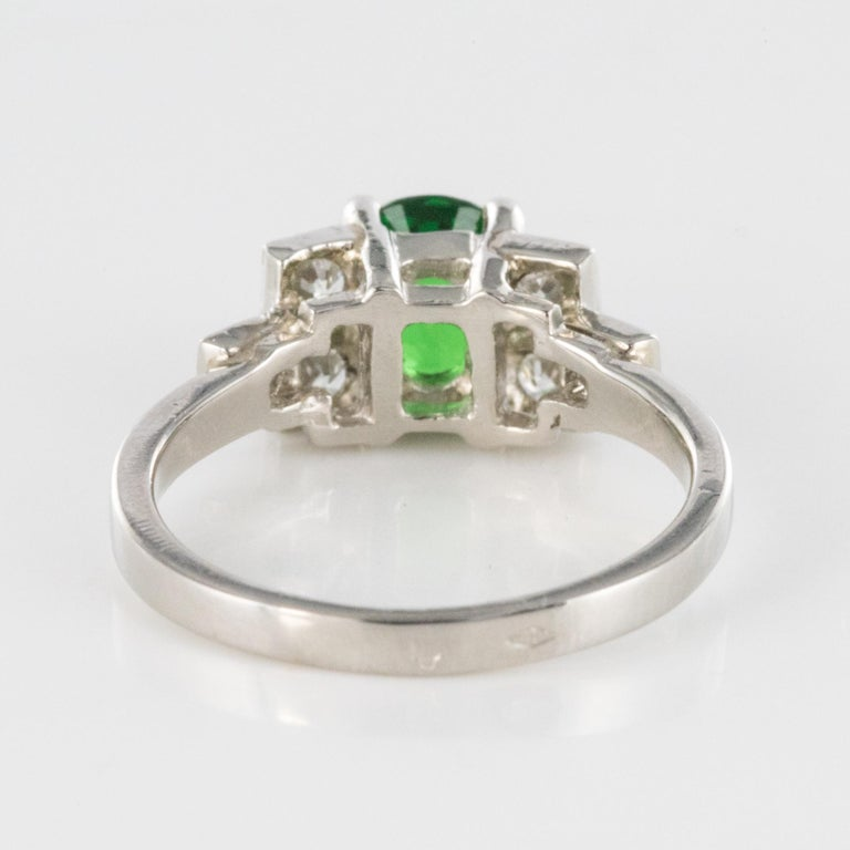 French Art Deco Style Tsavorite Garnet Diamonds Platinum Ring 8