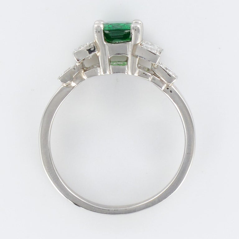 French Art Deco Style Tsavorite Garnet Diamonds Platinum Ring 10