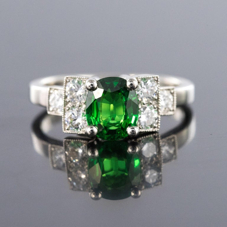 Oval Cut French Art Deco Style Tsavorite Garnet Diamonds Platinum Ring