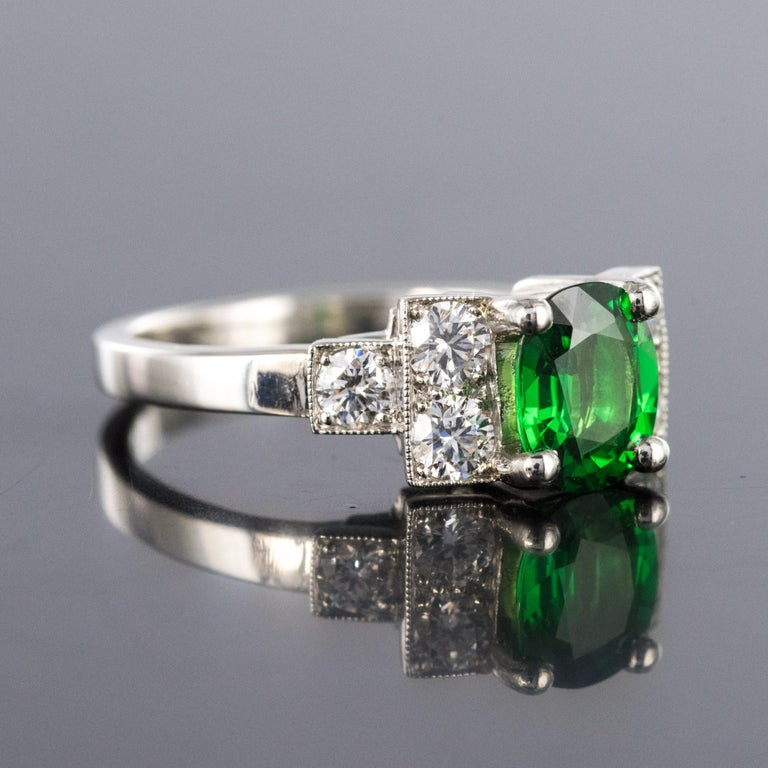 French Art Deco Style Tsavorite Garnet Diamonds Platinum Ring In New Condition In Poitiers, FR