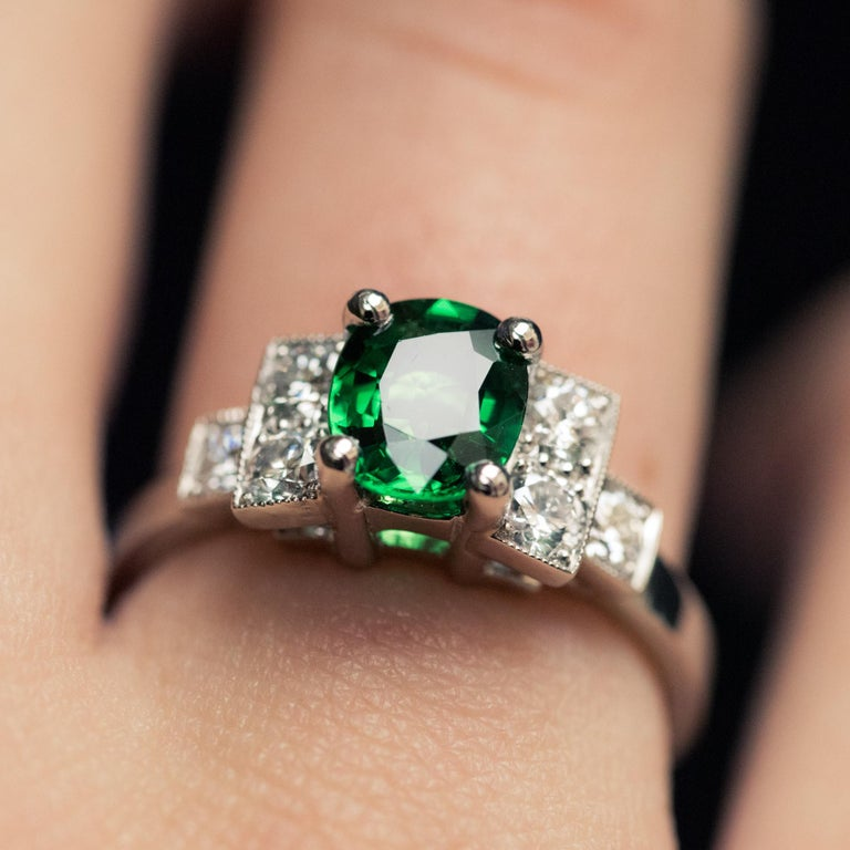 Women's French Art Deco Style Tsavorite Garnet Diamonds Platinum Ring