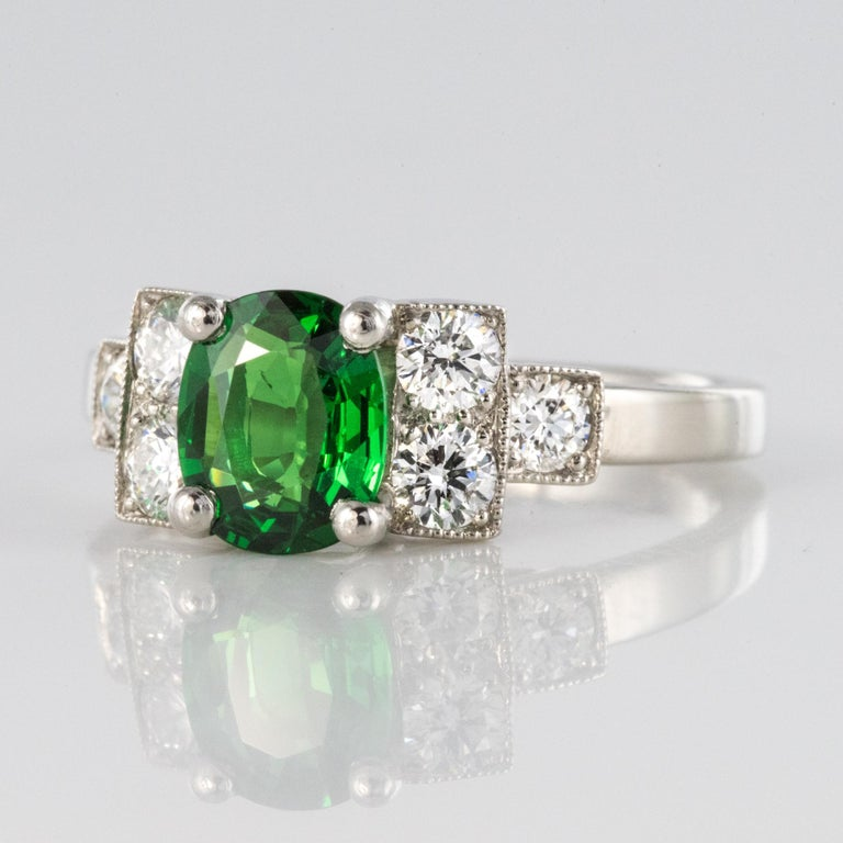 French Art Deco Style Tsavorite Garnet Diamonds Platinum Ring 1