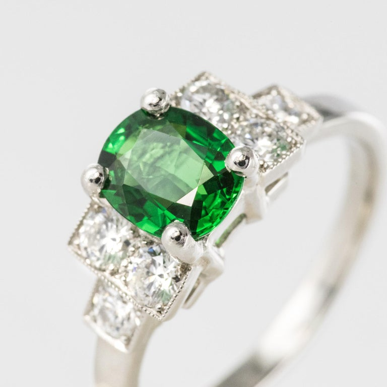French Art Deco Style Tsavorite Garnet Diamonds Platinum Ring 2