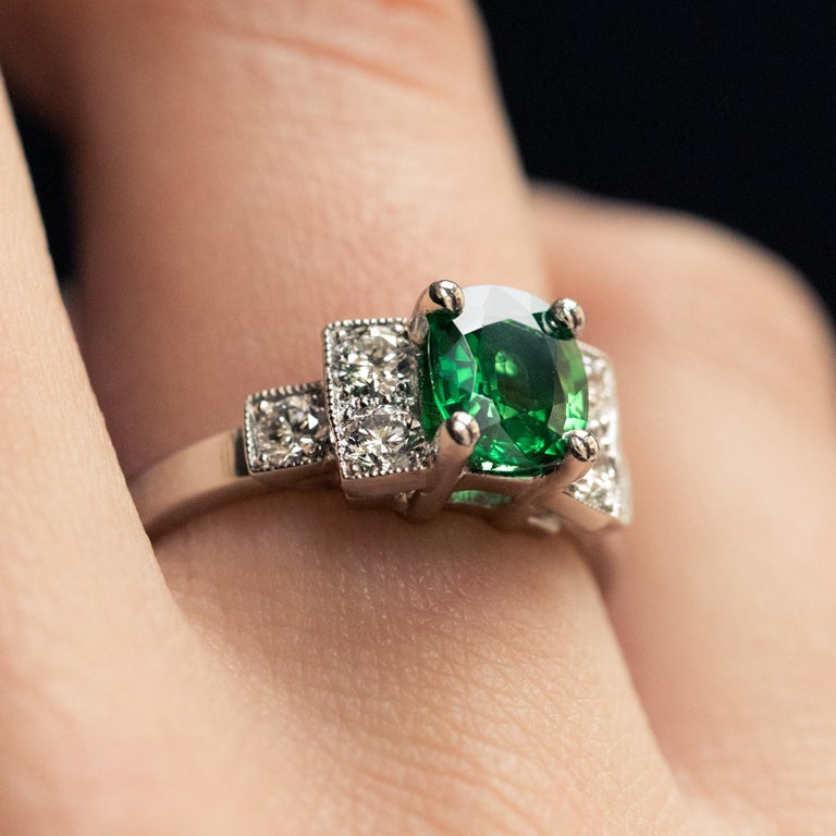 French Art Deco Style Tsavorite Garnet Diamonds Platinum Ring 3