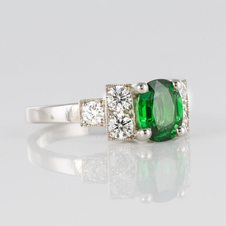 French Art Deco Style Tsavorite Garnet Diamonds Platinum Ring 4