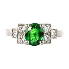 French Art Deco Style Tsavorite Garnet Diamonds Platinum Ring