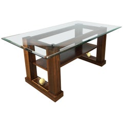 French Art Deco Style Two-Tiered Rosewood Coffee Table with Glass Top