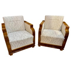 French Art Deco Style Upholstered Walnut Club Chairs