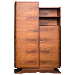 French Art Deco Style Walnut Cabinet