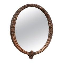 French Art Deco Sue & Mare Oval Copper Mirror, c.1923
