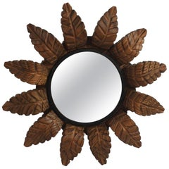French Art Deco Sunburst Leaves Wood Mirror
