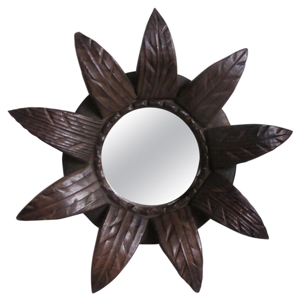 French Art Deco Sunburst Leaves Wood Mirror
