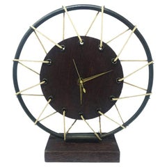 French Art Deco Table Clock in Wood, 1950s