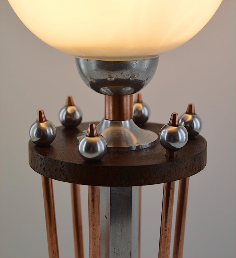 Metal French Art Deco Table Lamp, 1920s For Sale