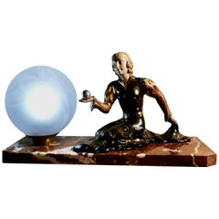 French Art Deco Table Lamp, a Witch and Ball