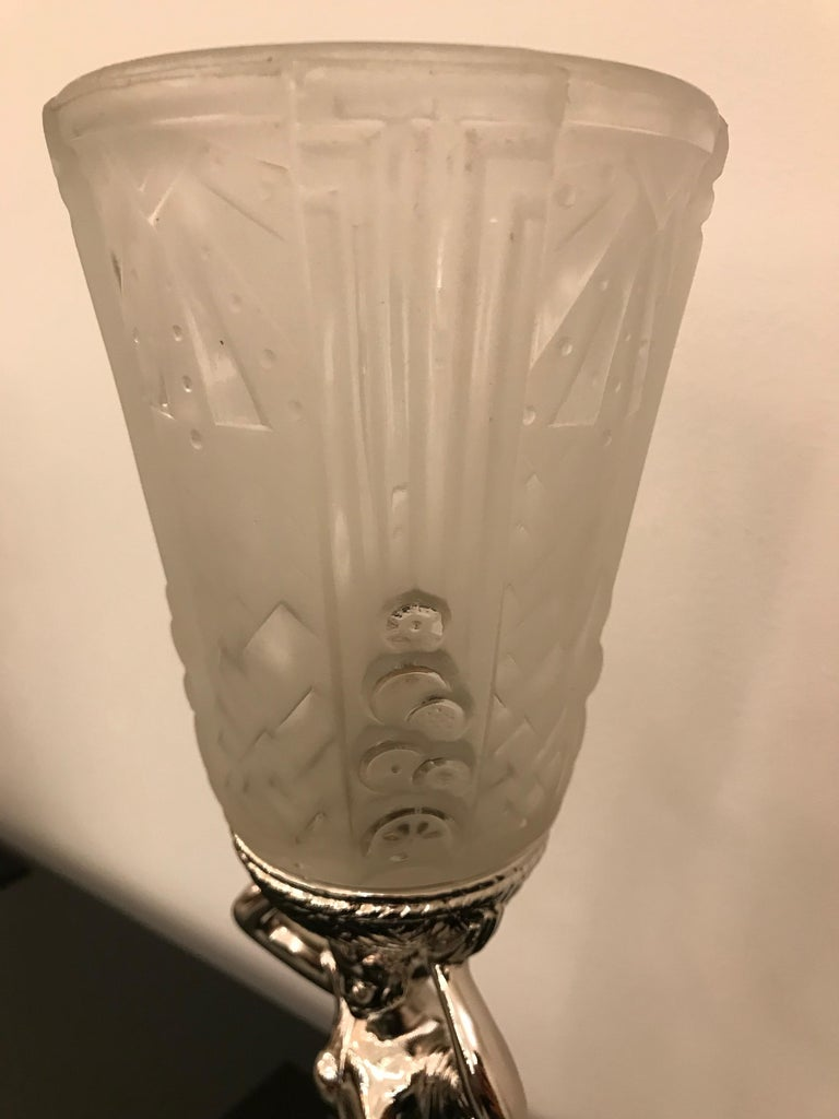 French Art Deco Table Lamp by Muller Frères Luneville For Sale 6