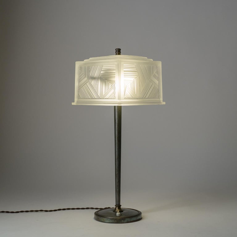 French Art Deco Table Lamp by Sabino, circa 1930 For Sale 11