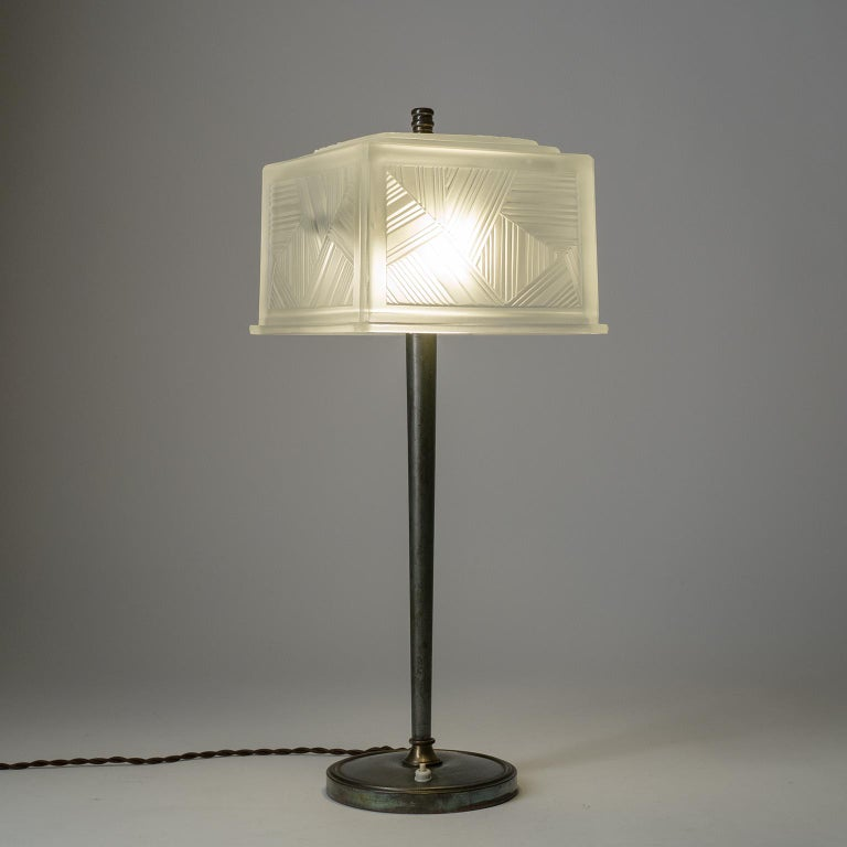 Frosted French Art Deco Table Lamp by Sabino, circa 1930 For Sale