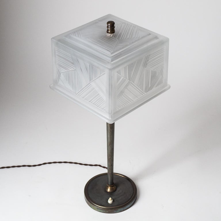 Brass French Art Deco Table Lamp by Sabino, circa 1930 For Sale