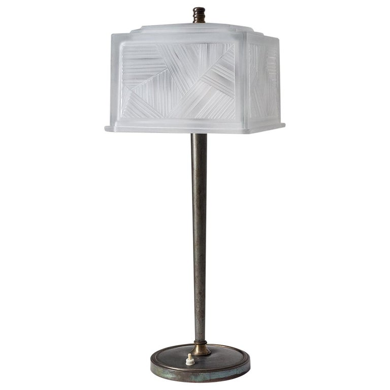 French Art Deco Table Lamp by Sabino, circa 1930 For Sale