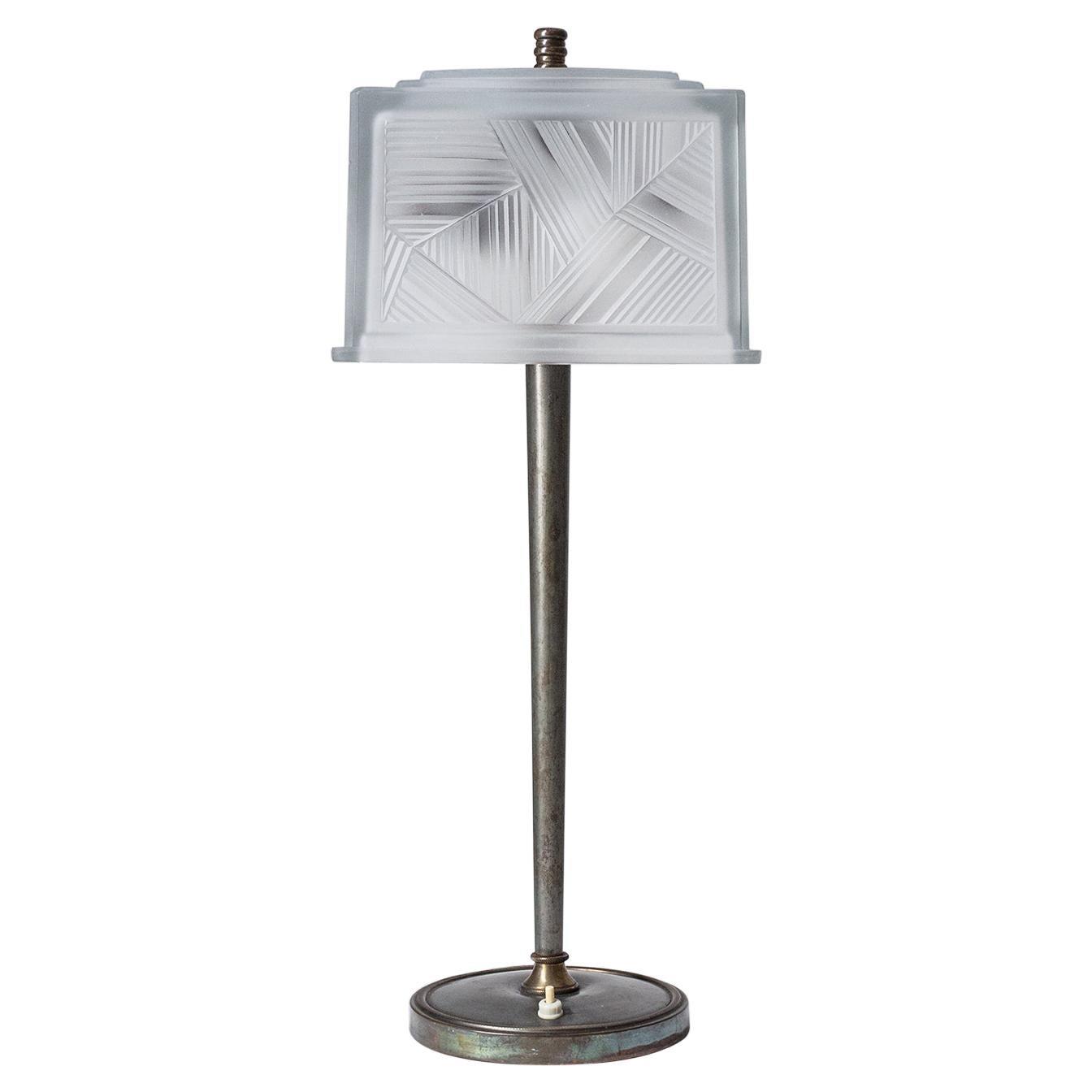 French Art Deco Table Lamp by Sabino, circa 1930