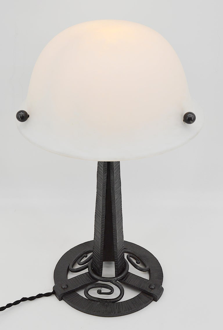 Glass French Art Deco Table Lamp, circa 1925 For Sale